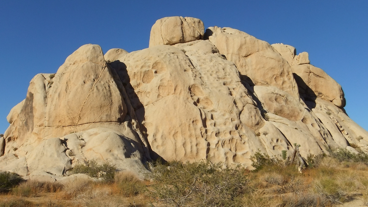 "Famous ""tafoni"" pock-marked formation at Squaw Tank, Joshua Tree NP"