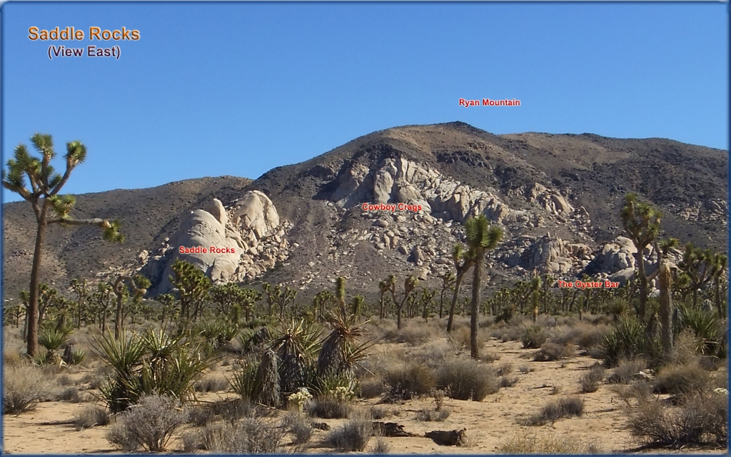 View of Saddle Rocks, Cowboy Crags and The Oyster Bar from Planet X