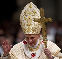 Pope Benedict XVI leads the midnight Christmas Mass in Saint Peter's Basilica in the Vatican on Dec. 24, 2012.